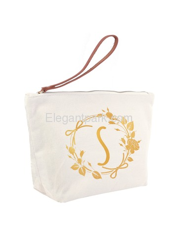 ElegantPark S Initial Monogram Makeup Cosmetic Bag Wristlet Pouch Gift with Bottom Zip Canvas