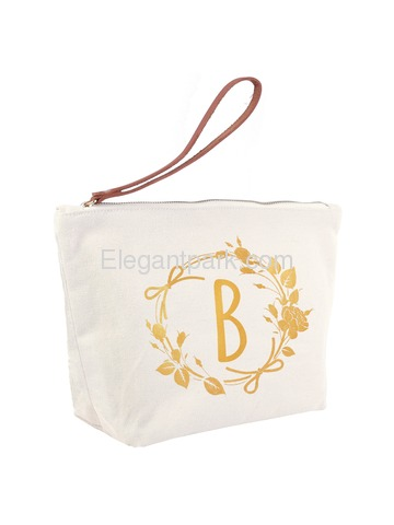 ElegantPark B Initial Monogram Makeup Cosmetic Bag Wristlet Pouch Gift with Bottom Zip Canvas