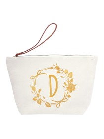 ElegantPark D Initial Monogram Makeup Cosmetic Bag Wristlet Pouch Gift with Bottom Zip Canvas
