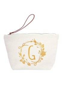 ElegantPark G Initial Monogram Makeup Cosmetic Bag Wristlet Pouch Gift with Bottom Zip Canvas