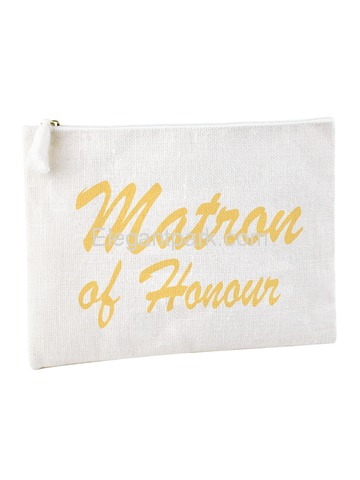 ElegantPark Matron of Honor Clutch Bag Wedding Bridal Shower Gift Handbag Zip White with Gold Script