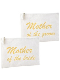 ElegantPark Mother of the Bride and Groom Clutch Bag Wedding Party Favors Gift Handbag Zip White wit
