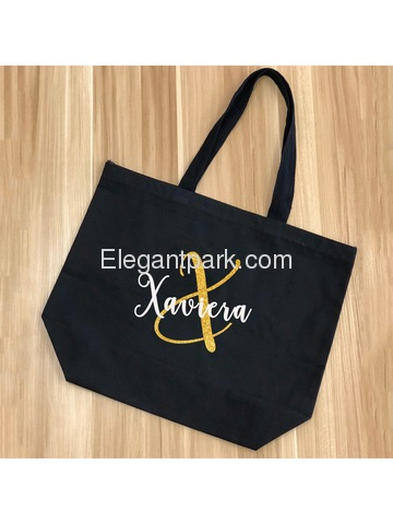 Monogram Initial X Personalized Tote Shoulder Bag Black with Gold Glitter 100% Cotton