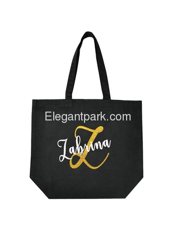 Monogram Initial Z Personalized Tote Shoulder Bag Black with Gold Glitter 100% Cotton