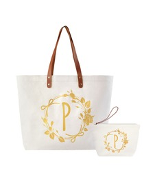 ElegantPark P Initial Personalized Gift Monogram Tote Bag + Makeup Cosmetic Bag with Zipper Canvas