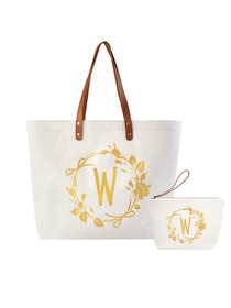 ElegantPark W Initial Personalized Gift Monogram Tote Bag + Makeup Cosmetic Bag with Zipper Canvas