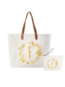 ElegantPark F Initial Personalized Gift Monogram Tote Bag + Makeup Cosmetic Bag with Zipper Canvas