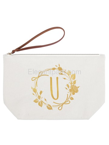 ElegantPark U Initial Monogram Personalized Travel Makeup Cosmetic Bag Wristlet Pouch Gifts with Zip