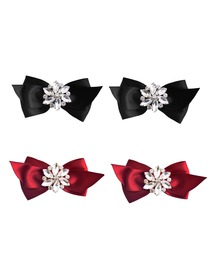 ElegantPark 2 Pairs CQ Women Wedding Accessories Bow satin with Rhinestones Crystal Shoe Clips