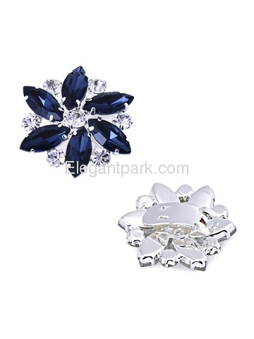 ElegantPark 2 Pairs Combination Women Wedding Accessories BD Sliver+AJ Navy Blue Shoes clips