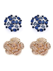 ElegantPark 2 Pairs Combination Women Wedding Accessories AF02 Gold+AM Navy Blue Shoes clips