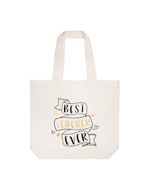 ElegantPark Best-Teacher Personalized Teacher Tote Bag With Inner Pocket Ivory Gift Bag