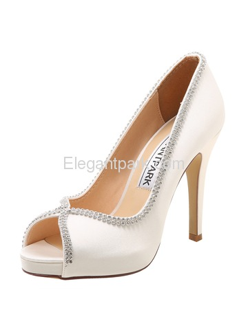 Elegantpark Peep Toe Pumps Beading Satin Stiletto Heel Wedding&Party Shoes (EP11083-IP)